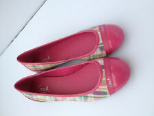Coach Cecile Pink Patent Leather and Multicolored Cloth Flats Womens Size 8
