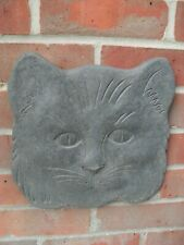 LARGE SLATE PLAQUE WITH CATS FACE -  UNUSUAL AS THICK SLATE & HEAVY