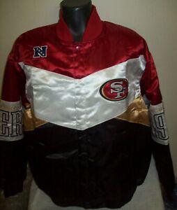 SAN FRANCISCO 49ERS Snap Down Varsity Jacket Red, Black & Pearl White XL NFL
