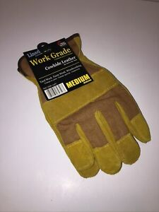 Mid West Mens Lined Suede Cowhide Leather Gloves Work Grade - Yard Farm Woodwork