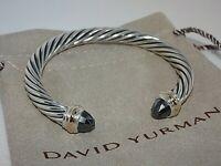 David Yurman Cable Classic Sterling Silver 14k Gold Hematite 7mm Cuff Bracelet