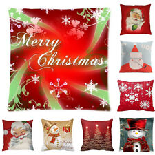 Home Decor Merry Christmas Painting Pillow Cases Cotton Linen Sofa Cushion Cover