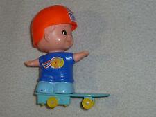 "VINTAGE TOMY KID-A-LONG ROLLER SKATING BOY SKATEBOARD WIND UP TOY 1979 4"" TALL"