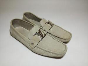 Authentic LOUIS VUITTON Damier men's beige suede loafers/moccasins shoes|Size 8