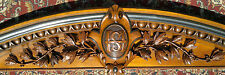 """Antique Victorian Carved Wood Mahogany Pediment Architectural 71.5"""" Across"""