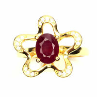 Oval Red Ruby 8x6mm White Cubic Zirconia 925 Sterling Silver Ring Sz 7.5
