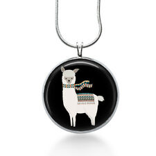 Alpaca with Scarf Necklace - Animal Pendant - Jewelry Gift for Teens