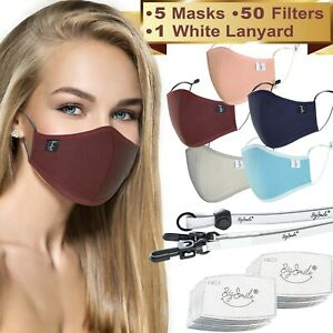 5 Cloth Face Masks for Women Reusable, Washable   50 Filters   1 Mask Lanyard