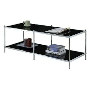 Convenience Concepts Royal Crest Coffee Table, Chrome/Black Glass - 134082B
