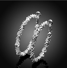Womens Sterling Silver Medium Oval U-Shaped Charm Hoop Earrings #EA20