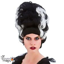 Adult Wicked Queen Black Silver Wig Fancy Dress Bride Of Frankenstein Halloween