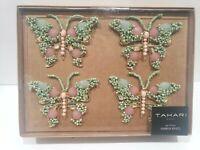 TAHARI BUTTERFLY SPARKLE BEADED NAPKIN RINGS HOLDER Set of 4 GORGEOUS!!