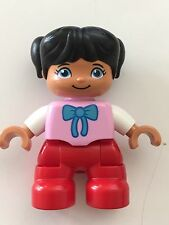 *NEW* Lego DUPLO GIRL RED Legs BRIGHT PINK Top BOW Pattern WHITE Arms BLACK Hair