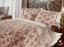3pcs Finely Stitched Queen Floral Cotton Quilt and 2 Standard Pillowcases