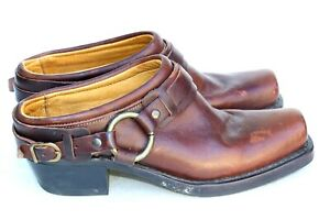 Frye USA Brown Leather Mule Clog Slide Ankle Harness Shoes SZ 7.5M