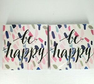 """New Home Wall Wooden Decor """"Be Happy"""" Word Design size 8"""" X 8"""" Thick 1"""" Lot of 2"""