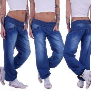 Boyfriend Jeans Chino Baggy Harem Hose Pumphose Haremshose Blau Pluderhose M5