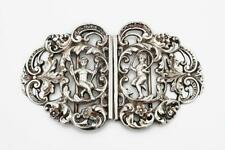 More details for fine edwardian sterling silver nurses buckle chester 1903 cherubs playing