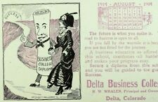 1914 Calendar Delta Business College, Delta, CO Anthropomorphic Diploma P40
