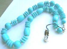 Collier de perles en résine couleur or et bleu turquoise original et lèger 4921
