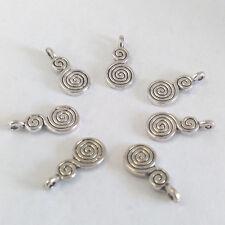 LOT de 12 PENDENTIFS perles breloque DOUBLES SPIRALES 18x8mm ARGENTE sans nickel