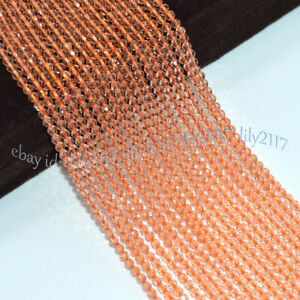 Faceted 3mm Natural Bright Orange Spinel Round Gems Loose Beads 15''