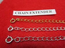 12 INCH GOLD,WHITE GOLD,SILVER  PLATED 4MM NECKLACE EXTENDERS W/SPRING RING SET