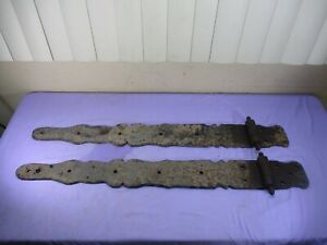 ENORMOUS Antique Victorian Wrought Iron Salvaged Barn Door Straps Hinges 36""