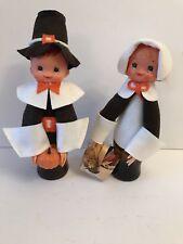 Vintage Handmade Pilgrim Couple Figurines Thanksgiving Folk