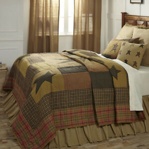 Primitive Quilt Set Luxury King Stratton Patchwork Star with Shams Skirt Pillow