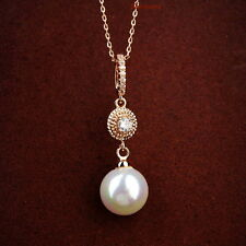 Rose Gold Fill Made With Swarovski Crystal Round Drop White Pearl Necklace N227
