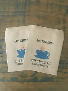 x10 Personalised Baby Shower Baby is Brewing, Favour, gift envelopes, Boy