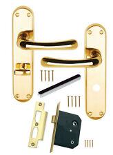 """Bathroom Door Handle SET Polished Brass GENOA/ CLARA Scroll +64mm 21/2"""" WC Lock"""