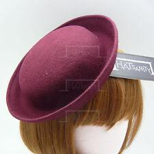 FASHION Wool Felt Women Mini Bowler Hat Ladies Fascinators Party DIY | Burgundy