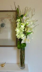 95 cm tall lily cream display FREE clear glass vase 20 LED lights, weddings