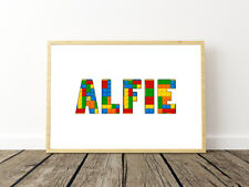 PERSONALISED LEGO NAME WALL ART PRINT POSTER IDEAL GIFT A4 BOYS ROOM