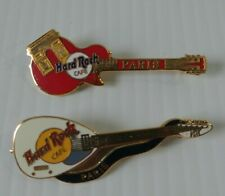 New Hard Rock Cafe Paris Arc De Triomphe Red Guitar Pin & White Guitar Pin