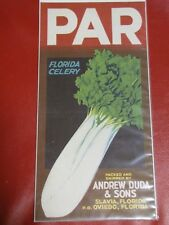Large Par Brand Celery Crate Label Andrew Duda & Sons Oviedo, Florida