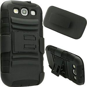 Rugged Impact Armor Hybrid Hard Case Cover Belt Clip For Samsung S3 i9300