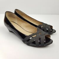 Hush Puppies Shoes Size 38 Low Heel Nell Patent Leather Black Peep Toe