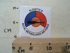 STICKER,DECAL ROYAL NETHERLANDS AIR FORCE,LEGER, ARMY, ALOUETTE III HELICOPTER
