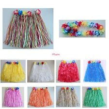 SHORT 40cm HAWAIIAN HULA SKIRT OR 4pc LEI SET LADIES LUAU FANCY DRESS COSTUME