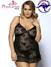 Size 8 - 24 Plus Size Black Sheer Top Lingerie Babydoll Camisole Nighty
