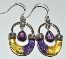 Hand Carved - Ametrine & Amethyst 925 Sterling Silver Earrings Jewelry JJ11594