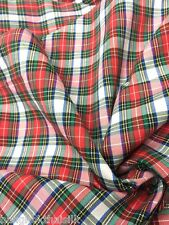 "IVORY RED GREEN WOVEN COTTON PLAID SCOTCH FABRIC 44""W KILT SKIRT DRAPE BTY"