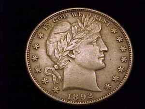 1892-S  Barber Half Dollar, About Uncirculated Grade.