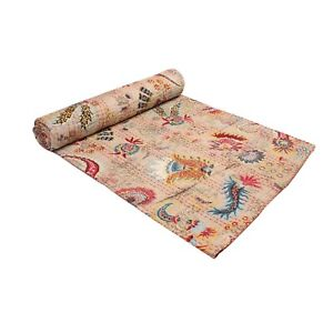 Hand Block Print Design Twin Cotton Indian Handmade Kantha Quilt Throw Blanket.
