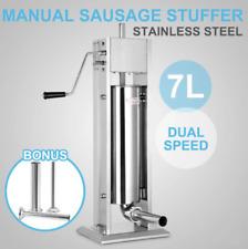 7l Sausage Vertical Stuffer Sausage Maker Machine Hand Crank Stainless Steel Us