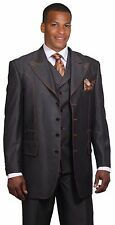 Men's suit Denim look wool feel Jacket with collared vest Double stitching 5608V