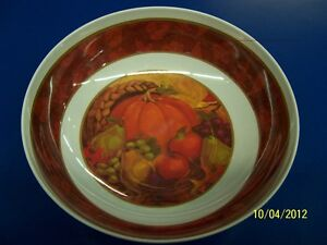 Fall Harvest Pumpkin Fruit Autumn Thanksgiving Party Melamine Serving Bowl